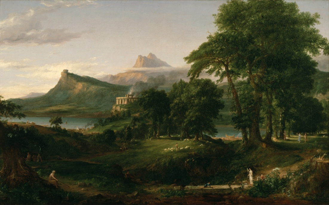Thomas Cole, The Course of Empire:  The Arcadian or Pastoral State, oil on canvas, 39 1/2 x 63 1/2 inches, 1835